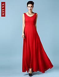 vestido maxi con cuello en V Yalun ™ de alta calidad de las mujeres de la gasa delgada de la moda clásica