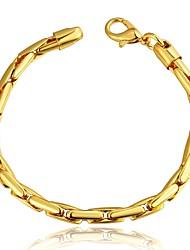 Simple Generous Women's Ellipse Brass Gold Plated Chain & Link Bracelet(Golden)(1Pc)