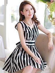Women's New Stripe Sleeveless Dress