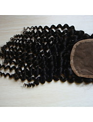 """18""""Kinky Curly Brazilian Virgin Hair Hair Pieces Lace Closure 4""""x4""""  Free Style 1Pc Natural Colour"""