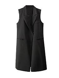 Women's Notched Collar Pockets Sleeveless Blazer