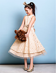 Tea-length Lace Junior Bridesmaid Dress A-line Jewel with Bow(s) / Flower(s) / Sash / Ribbon