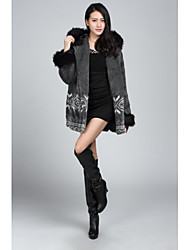 Fur Coats/Jackets Long Sleeve Artificial Leather/Faux Fur Jackets Gray