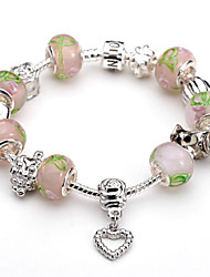 Women Gift Strand Beads Bracelets Beads Pink Glass Beads Charm Bracelets & Bangles 925 Silver European beads BLH002