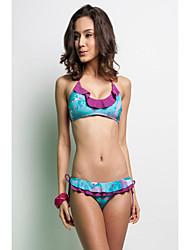 Floral Bralette Top Flounce Ruffle Bikini Bottom