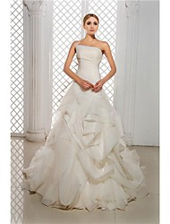 A-Line Strapless Cathedral Train Organza Satin Wedding Dress with Pick-Up Side-Draped by Ed Bridal