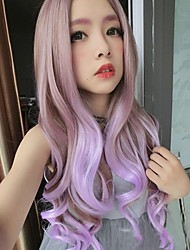 New Harajuku Wig Linen Color Gradient Lavender Curly Hair Big Waves