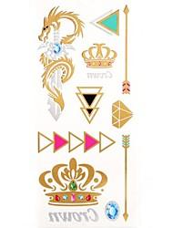 1PC New Gold Tattoos Crown Dragon Temporary Tattoos Flash Tattoos Cuticle Tattoos Wedding Party Tattoos(25*10.5cm)