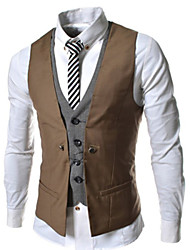 Allen Men's Fashion All Match Solid Color Waistcoat