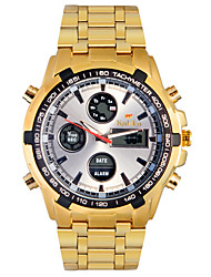 Herren Armbanduhr Quartz LED / LCD / Kalender / Chronograph / Wasserdicht / Duale Zeitzonen / Alarm Legierung Band Gold Marke-