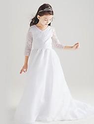 Цветочница платье ( Хлопок/Органза/Тафта Принцесса - V-образный - Длина до пола