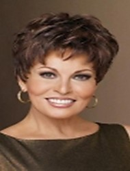 Top Quality Fashion Short Dark Brown Wig Woman's Synthetic Wigs Hair