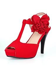 Sandálias ( Preto/Vermelho ) - MULHERES Saltos Altos/Plataforma - Salto Alto - Courino