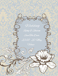 Personalized Wedding Invitations Flower Pattern Save The Date Paper Card 15cm x 12.5cm 50pcs/Set