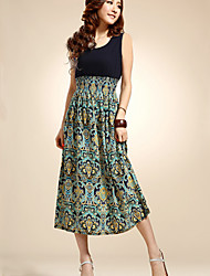 Women's Sleeveless Bohemian High Waist Midi Dress