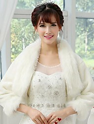 Wedding  Wraps / Fur Wraps Coats/Jackets Long Sleeve Faux Fur White Wedding / Party/Evening Open Front