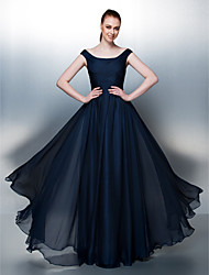 thuiskomst thuiskomst / formele avond / vakantie jurk - dark navy a-lijn / prinses scoop vloer-length chiffon
