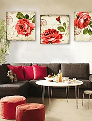 E-HOME® Stretched Canvas Art Red Flowers Decoration Painting Set of 3