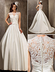 Lanting A-line/Princess Plus Sizes Wedding Dress - Ivory Sweep/Brush Train Queen Anne Satin/Lace