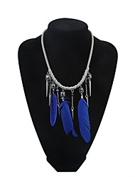 Women EU&US Punk Alloy Cone and Feather Tassel Personality Bib Necklace