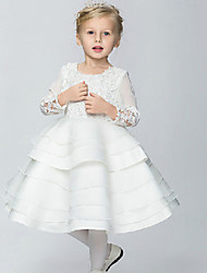 Ball Gown / Princess Knee-length Flower Girl Dress - Cotton / Organza / Taffeta 3/4 Length Sleeve Scoop with
