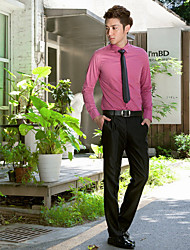 Shirts Classic (Semi-Spread) Long Sleeve Cotton/Polyester Solid Grape