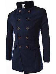 Men's Long Sleeve Long Coat , Cotton Blend Pure