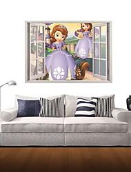 3D Wall Stickers Wall Decals, Girl Wearing A Purple Dress Decor Vinyl Wall Stickers