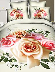3d Reactive Flowering Plant Printed Bedding Set Duvet Covers Flat Bed Sheet Pillowcases 100% Cotton