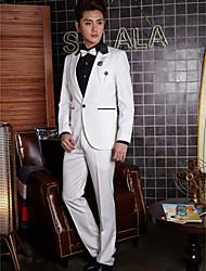 Tuxedos Tailored Fit Peak One-Button Cotton/Polyester Stripes 2 Pieces White