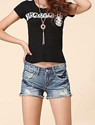 retro estiramento ocasional shorts jeans femininos
