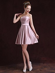 Formal Evening Dress A-line Strapless Knee-length Satin with Pockets