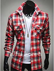 Men's Long Sleeve Shirt , Cotton Casual/Sport Plaids & Checks