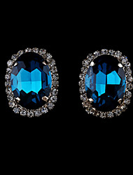 Brincos Curtos Cristal Moda Europeu Imitação de Pérola Strass Chapeado Dourado 18K ouro imitação de diamante Áustria CristalPreto Laranja