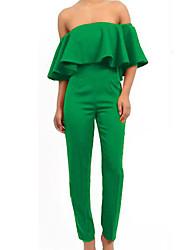 ZhuLanChao®Women's Falbala Sexy Backless Pure Color Jumpsuits