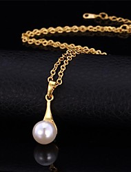 U7® Water Drop Pearl Necklace 18K Real Gold Platinum Plated Pendant Necklace Fashion Jewelry