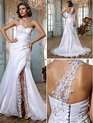 Lanting Trumpet/Mermaid Plus Sizes Wedding Dress - White Sweep/Brush Train Sweetheart Organza