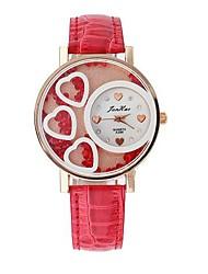Women's Fashion Heart-shaped Design Circular Dial PU Leather Strap Quartz Movement Wrist Watches (Assorted Colors)