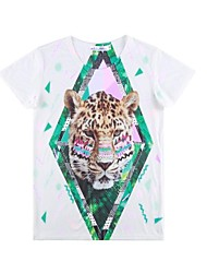 Women's Character Multi-color T-shirt , Print Crew Neck Short Sleeve