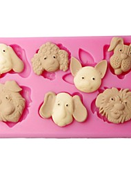 FOUR-C Chocolate Moulds 3D Farm Animals Fondant Molds Color Pink