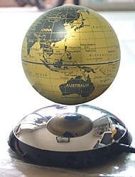 "6"" Rotating Magnetic Levitation Floating Gold Globe Map with Roundness Base"