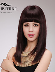Capless Medium Length Straight  Human Hair Wigs with Full Bang