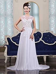 Sheath/Column Court Train Wedding Dress -Jewel Chiffon