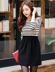 Women's Korea Style Round Collar Stripe Long SLeeve Slim Dress