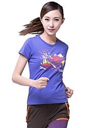 Femme Hauts/Tops / T-shirt Camping & Randonnée / Fitness / Courses / Sport de détente Respirable / Séchage rapide EtéVert / Violet /