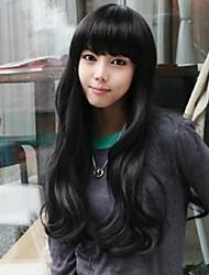 Fashion Neat Bang Large Black Wavy Curly Hair