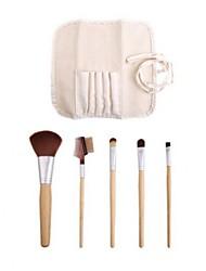 escova de bambu talo maquiagem conjunto com 5pcs escovas e saco de pano