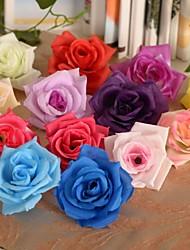 """2.8 """"l eenvoudige rozen hoofden zijden doek bloemen 6 stuks"""