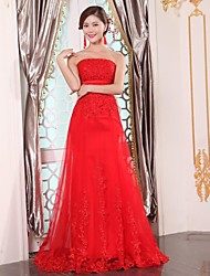 Formal Evening Dress A-line Strapless Floor-length Tulle with Lace