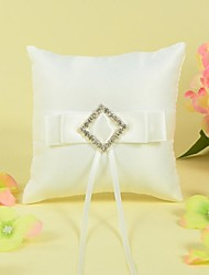 Ring Pillow In Satin With Sash And Rhinestone